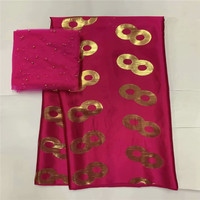 African soft silk fabric for garment neat embroidery on the gold & purple satin material with swiss voile lace tissu LXE100508
