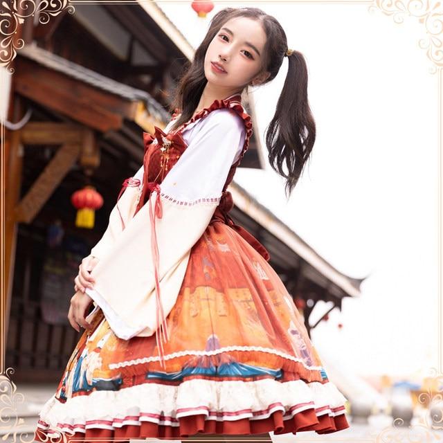 Фото японское винтажное милое платье в стиле лолиты с перекрещивающимися