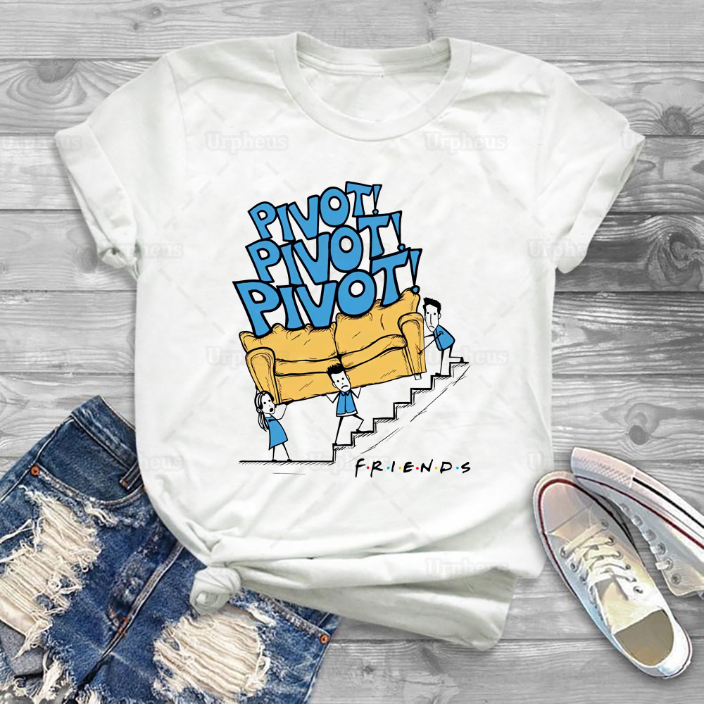 Friends Tv Shirt Funny Couch Pivot Tshirt Ross Rachel And Chandler Move A Couch Pivot Short Sleeve Tees