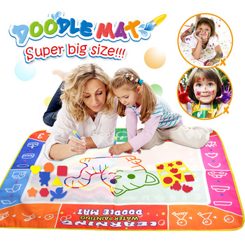 120x90cm Multi-color Magic Water Drawing Mat with 3 Magic Pens & 17 stamps Reusable Painting Board Educational Toy for Kids Gift