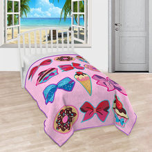 62x90In Pink Cute Cartoon Cake Ice Cream Blanket Comfortable Plush Twin Blanket Blanket for Bed Fleece Funny Plush Bedspreads(China)