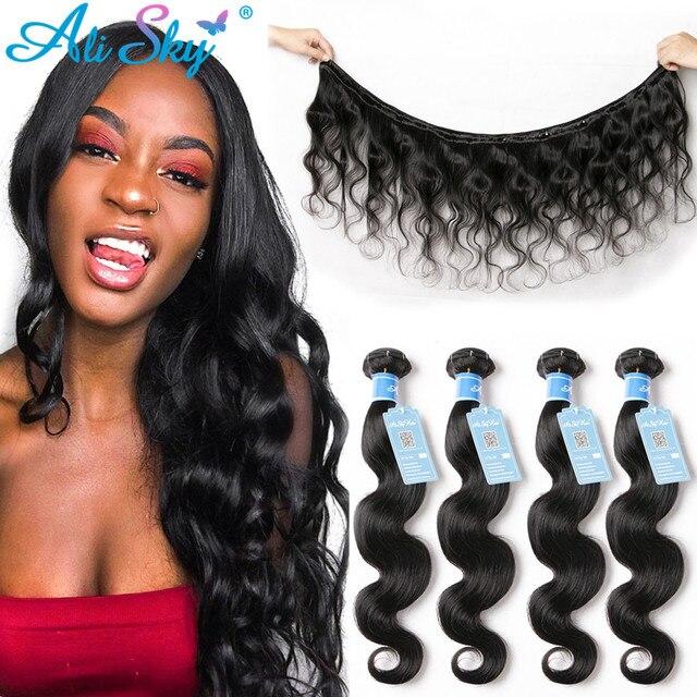 Alisky Hair Body Wave Bundles Peruvian Hair Weave Bundles 100% Human Hair bundles 8 30inch 1/3/4 bundles Remy hair extensions