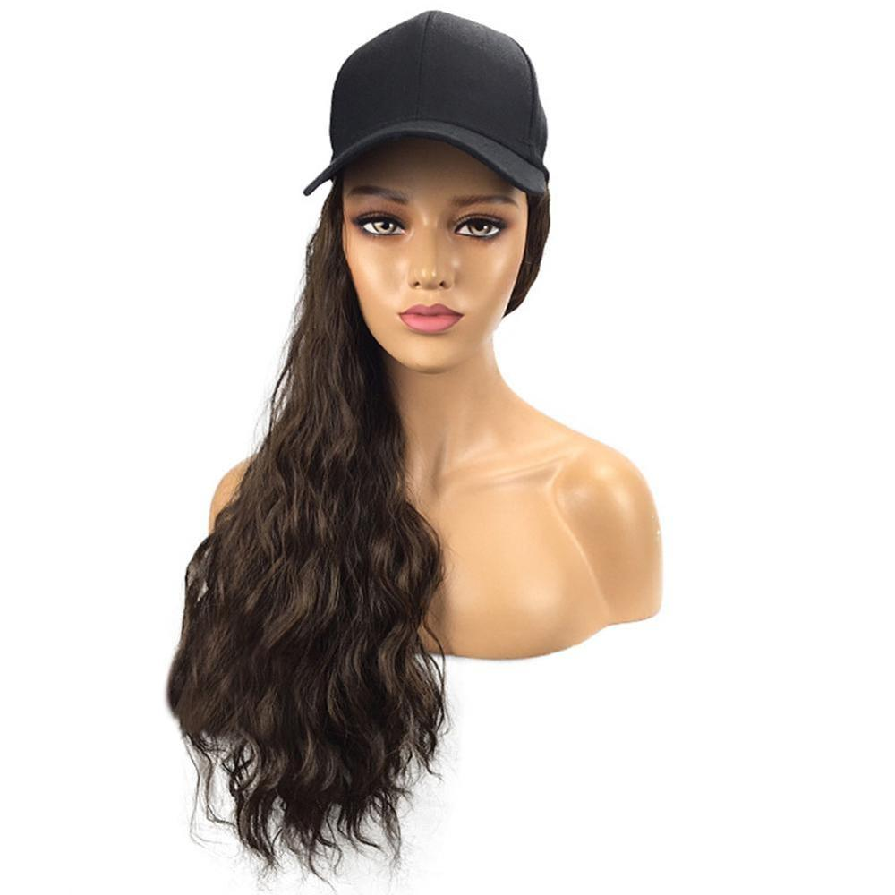 Baseball Hat with Synthetic Hair Extensions Long Wavy Thick Hair Cap for Women
