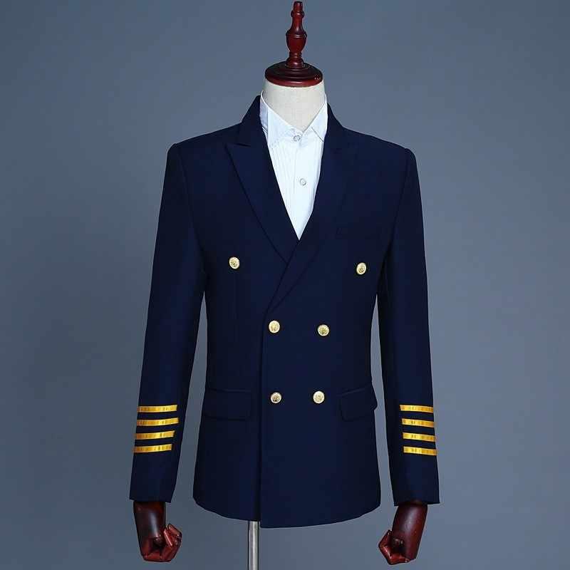 Mens Formale Spallina Nappe Pilot Captain Pantaloni Giacca Sportiva Abiti Doppio Petto Slim Fit Vestito di Vestito Terno Masculino Costume 2 Pezzi
