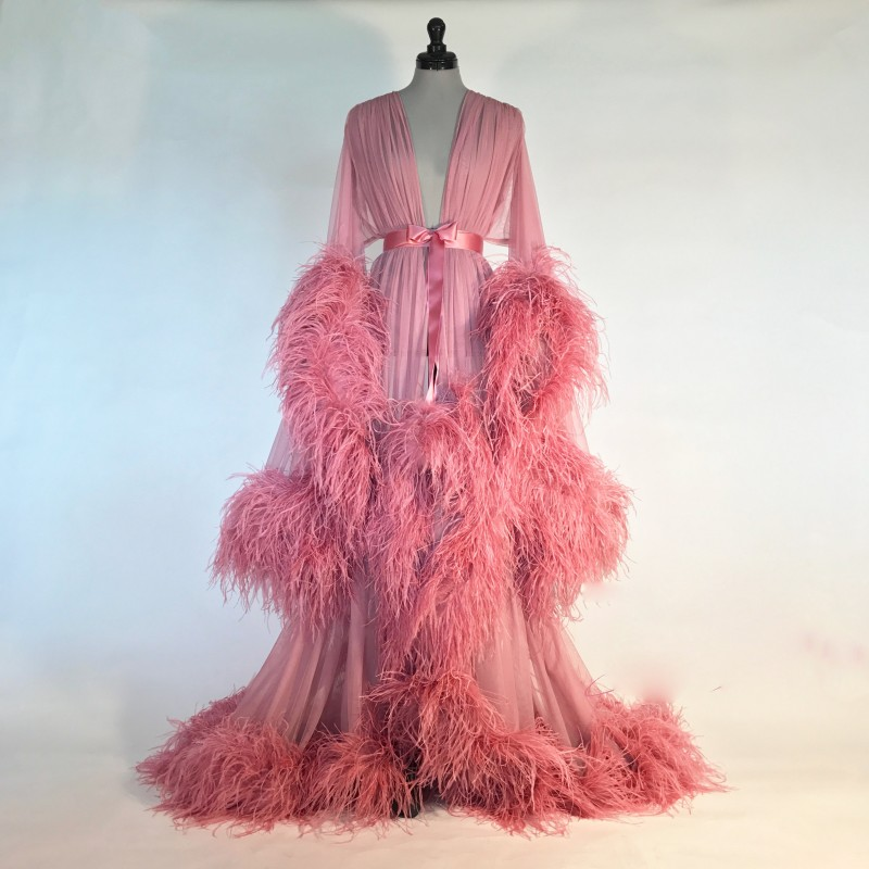 Bathrobe For Women Pink Feather Full Length Lingerie Nightgown Pajamas Sleepwear Women's Luxury Gowns Housecoat Nightwear