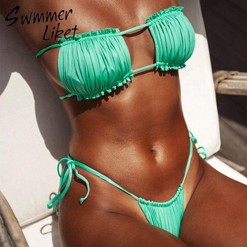 Micro Sexy Brazilian Bikini 2019 Ruffles High Cut Swimsuit Female Bathers Push Up Green Swimwear Women Bathing Suit Biquini New