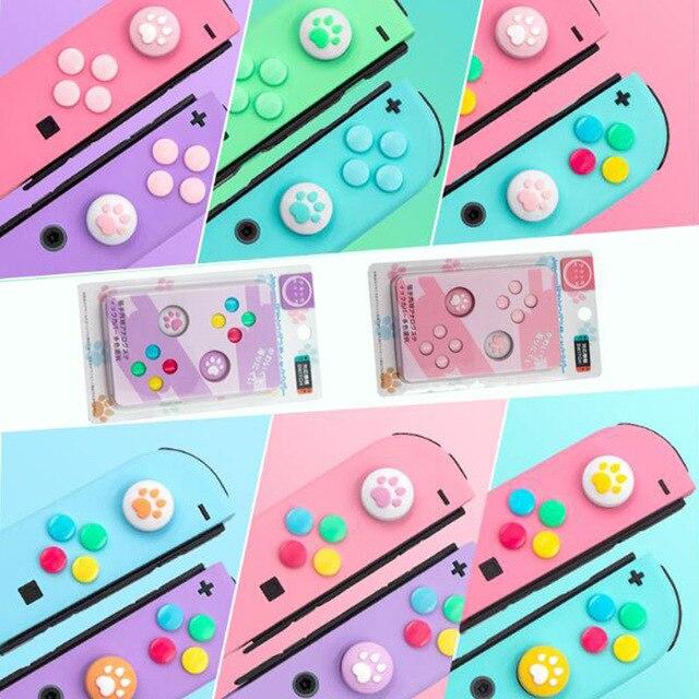 אגודל מקל אחיזת כובע ג ויסטיק כפתור מגן כיסוי עבור Nintendo מתג שמחה קון NS לייט בקר ABXY מפתח מדבקה עור מקרה