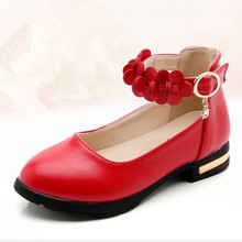 Red Black Big Girls Leather Shoes Kids Rhinestone Princess For Wedding and Party student Flower Dress