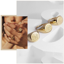 Chic Personalize Engraving 26 Letters Signet Rings for Women Stainless Steel Initial Alphabet Custom Female Gits Jewelry