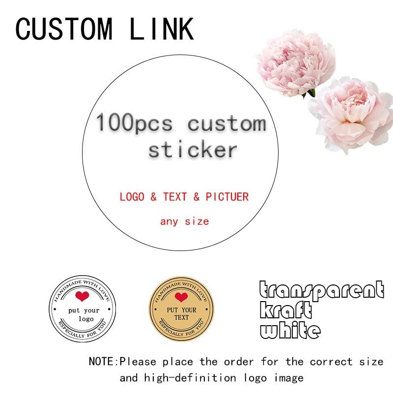 100 шт. DIY круглых наклеек на заказ Печать наклеек личность логотип несколько стилей на свадьбу и день рождения белый логотип