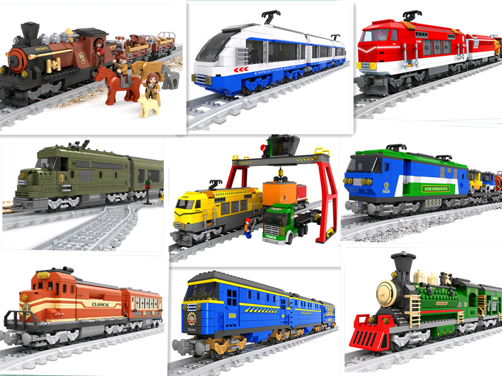 City Trains series Train Track railway Straight Curved Rails Blocks Sets educational toys model building kits blocks