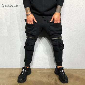 2020 New Solid Fashion Streetwear Sport Joggers Men Pants Casual Skinny Safari Style Pocket Drawstring Pencil Trousers