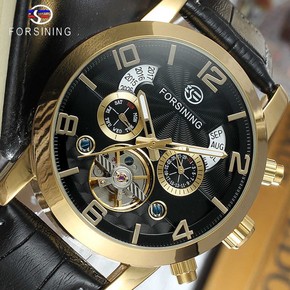 Forsining Tourbillon Mode Welle Schwarz Goldene Uhr Multi Funktion Display Mens Automatische Mechanische Uhren Top Marke Luxus Mechanische Uhren Aliexpress