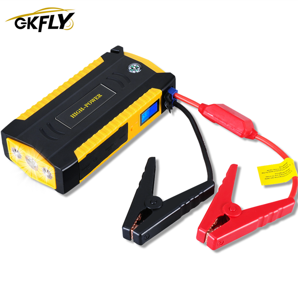 GKFLY High Power Car Jump Starter 600A 12V Starting Device Power Bank Petrol Diesel Car Battery Booster Charger Car Starter LED