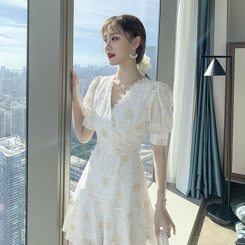 Dresses Woman 2020 Summer Flower Print Short-Sleeve Casual Loose Dress Short Beach Dresses M239