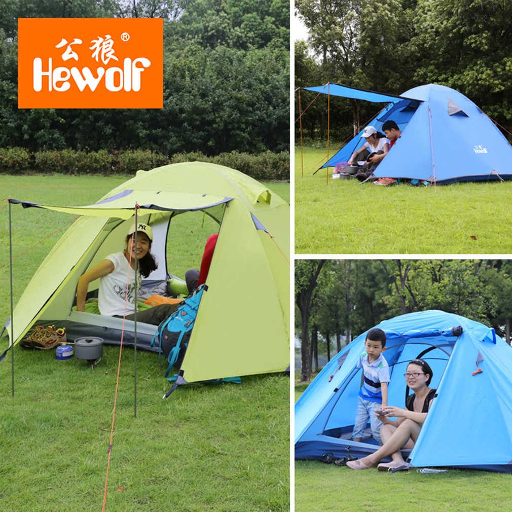 Hewolf 2 personnes tentes tentes de Camping Double couche imperméable coupe-vent tente extérieure pour la randonnée pêche chasse plage pique-nique fête