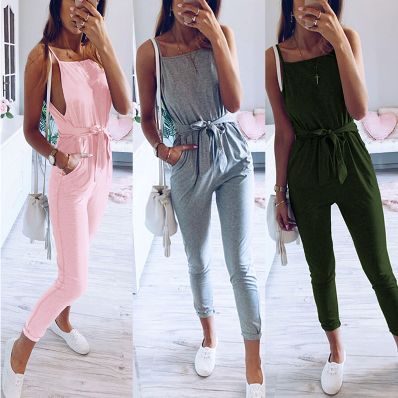 Summer Sexy Jumpsuit Women Backless Lace Up Romper Jump Suit Solid Sleeveless Bodycon Jumpsuits Pocket Female Clothes Overalls