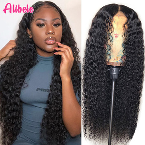 "150% Alibele Malaysian Deep Wave Curly Lace Front Wig 4x4 Lace Closure Wig Short Long 10-30"" Human Hair Wig 360 Lace Frontal Wig(China)"