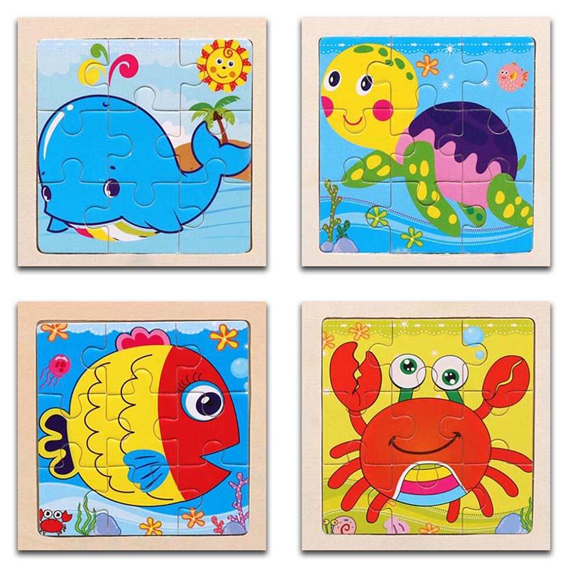 3D Paper Kids Children's Baby Early Childhood Educational Toy Cartoon Aquatic Creatures Wooden Small 9-Piece Jigsaw Puzzle