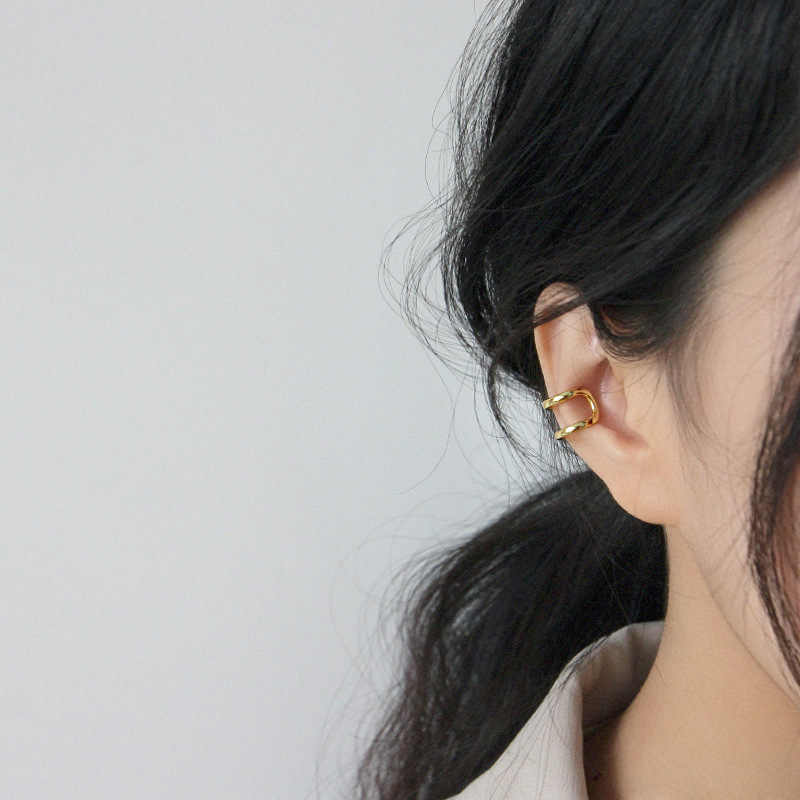 Pendientes coreanos De Plata De Ley 925, Pendientes De Clip en oro, Joyas De Plata 925, 1 uds, Pendientes De Mujer, joyería fina