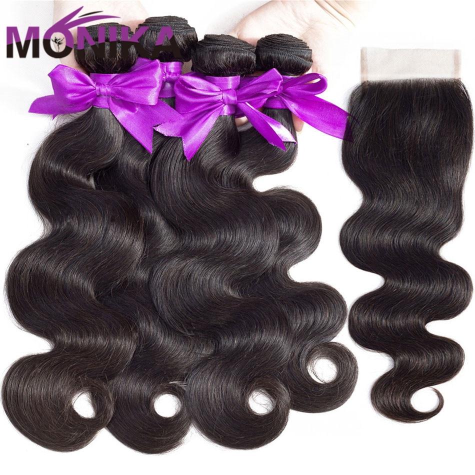 Monika Hair Closure With Bundles Brazilian Hair Body Wave Bundles With Closure Non-Remy 28inch Human Hair 3 Bundles With Closure