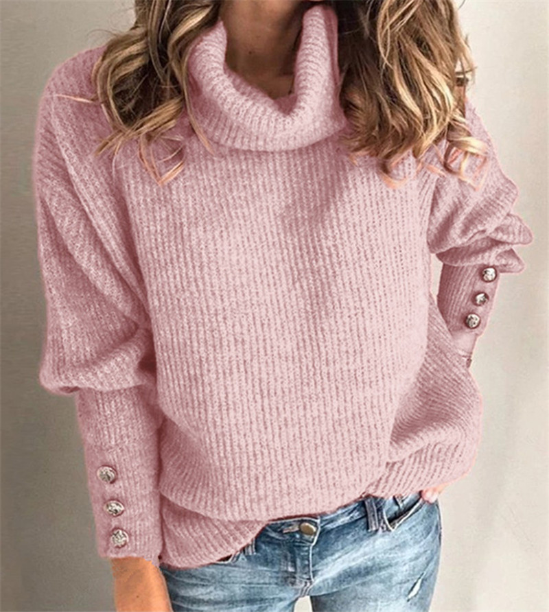Women Knitted Turtleneck Sweater Autumn Winter Sweater Plus Size Casual Soft Fashion Outerwear Femme Elasticity Long Pullovers