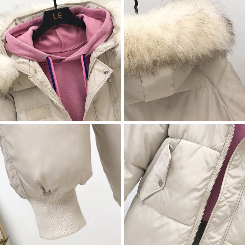 Image 5 - Fashion Big Fur Collar Autumn Coat Womens Winter Jackets New Warm Female Down Parkas Cotton Padded Jacket Women Hooded Coat-in Parkas from Women's Clothing