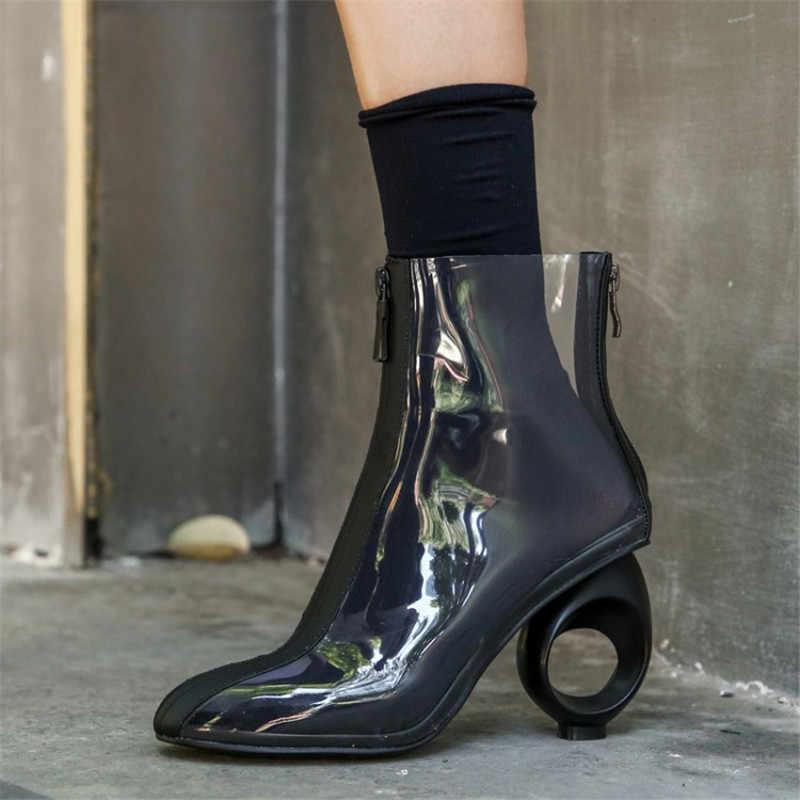 Prova Perfetto Plus Size 42 Vrouwen Enkellaarsjes PVC Transparante Hoge Hakken Regen Laarzen Vrouwen Schoenen Herfst Peep Toe Bootie mujer