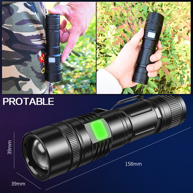 True XHP50.2 Flashlight zoom led torch USB Rechargeable Lantern use 18650 26650 Battery can as power bank power display