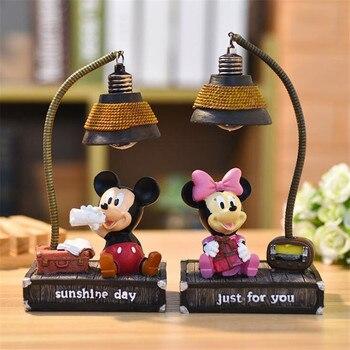Disney-Lámpara LED de noche de Mickey y Minnie Mouse, lámpara de escritorio...