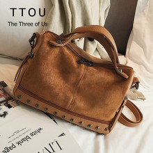 Women Suede Rivet Handbags Vintage Large Capacity Shopping Bag Casual Daily Tote Bag Female Shoulder Bag Soft Bolsas women tote bag lady casual waterproof hobo handbags female nylon fold up shoulder bags large capacity mummy shopping bag bolsas