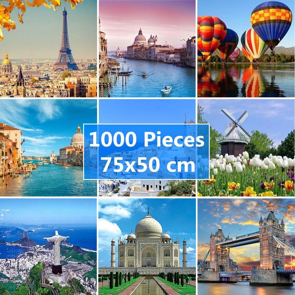 75*50 Cm Jigsaw Puzzle 1000 Pieces World Famous Landscape Pattern Adult Puzzles Adulto Educational Toys Puzzle For Adults