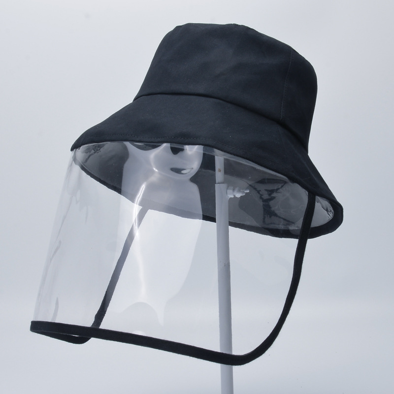 Adult Protective Face Shield Bucket Hat Transparent Face Cover Block Saliva Droplets Anti-spitting Fisherman Cotton Sun Cap