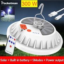 300W Ampoule LED Rechargeable LAMPE Télécommande Charge Solaire Lanterne De Secours Portable Marché de Nuit Lumière de Camping En Plein Air Maison