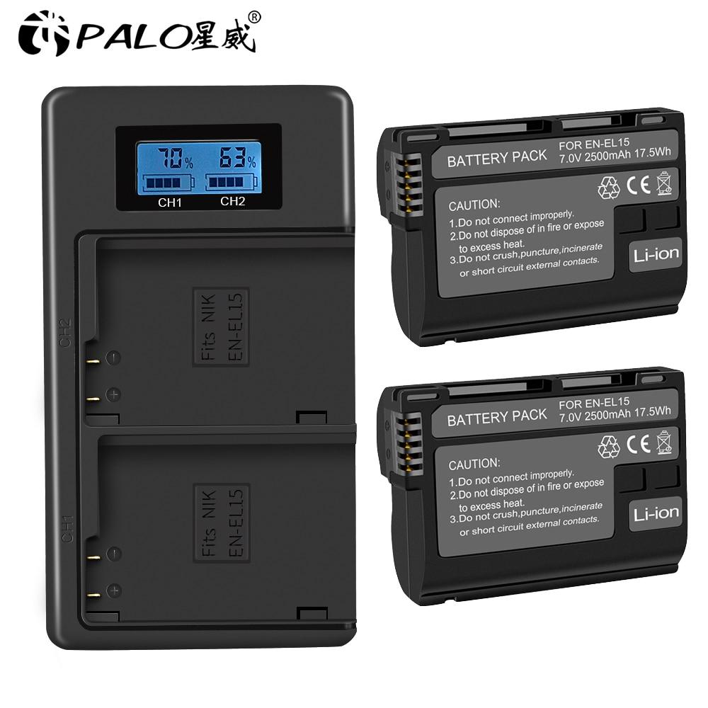 PALO 2500mAh 7.0V EN-EL15 ENEL15 EN EL15 Batterie Pour Appareil Photo REFLEX NUMÉRIQUE Nikon D600 D610 D800 D800E D810 D7000 D7100 D7200 L15