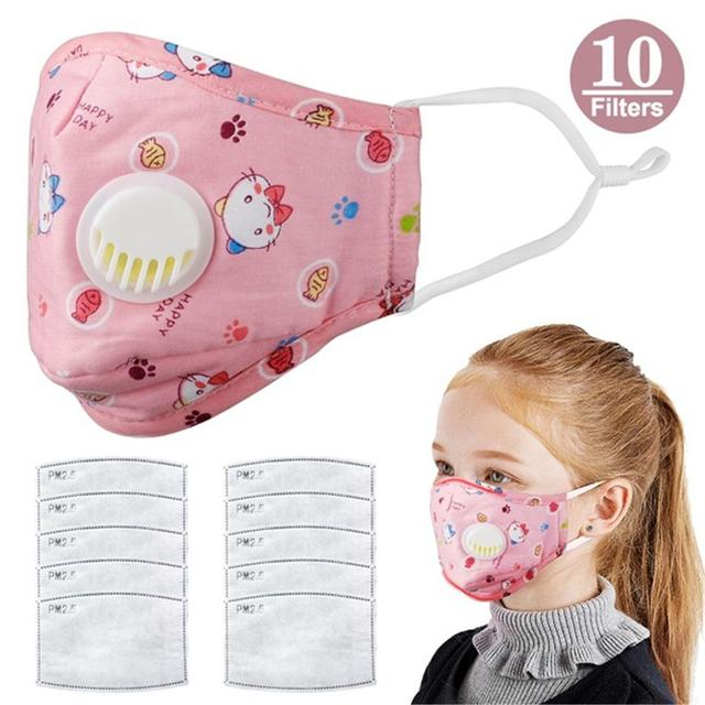 1PCS Mouth Mask Cartoon Warm Breathable Half Face Mask with 10 Filters Adjustable Reusable  Masks for Children kids Girls Boys 1