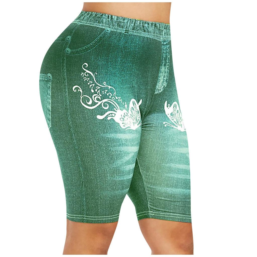 Women's Summer Breeches Stretch Perfect Fit Faux Jeans Legging 4\3 High Waist Capri Pants Printed Short Leggings Female #YJ