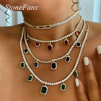 Stonefans Hiphop Chain Men Tennis Necklace Thin Choker for Women Luxury Charm Crystal Rhinestone Pendant Necklace Jewelry Party
