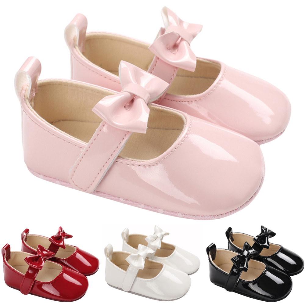 Baby Girls Bownot Princess Shoes Party Dress Shoes Crib Pram Shoes First Walkers Flat Shoes D20