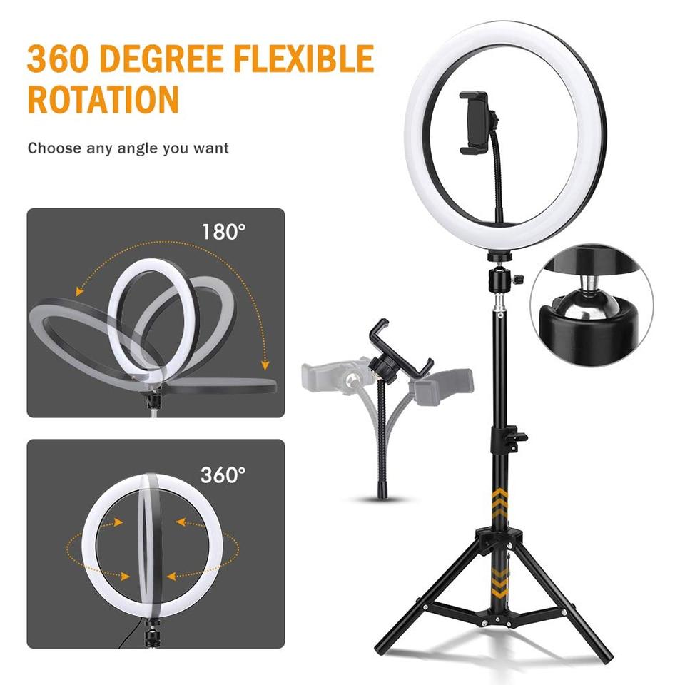 160cm tripé suporte selfie preenchimento circular anel