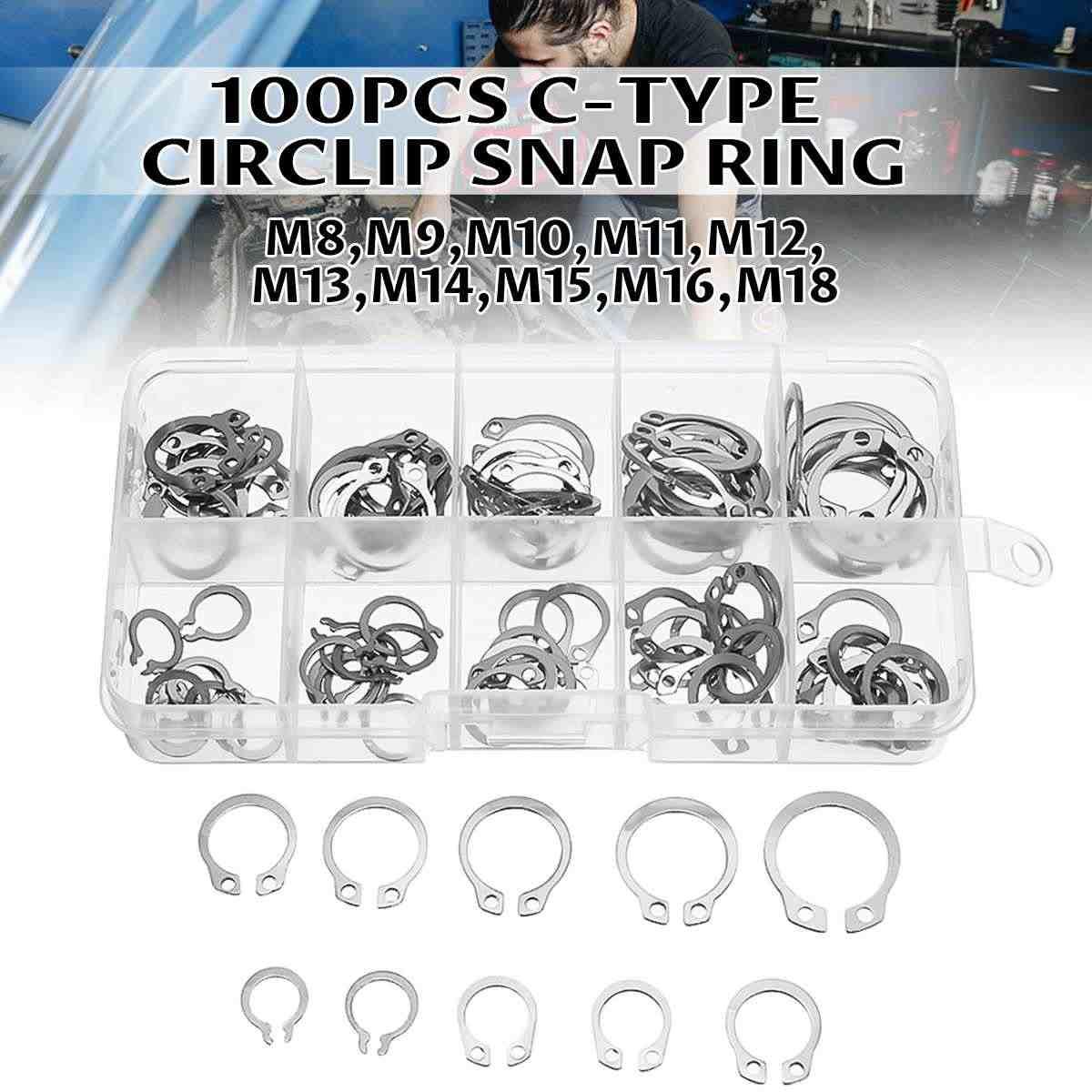 100 szt. M8-M18 wewnętrzne przechowywanie zewnętrzne pierścienie zabezpieczające c-clip podkładki pierścień ustalający pierścień zabezpieczający zestaw asortymentowy ze stali węglowej