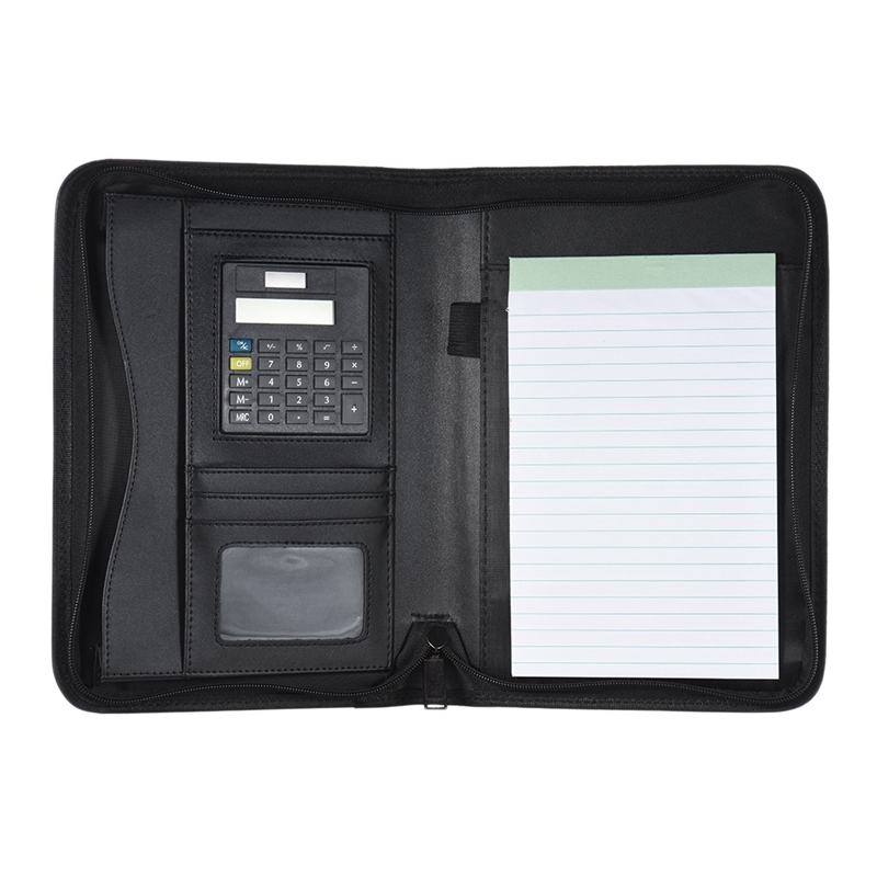 Padfolio PU Leather A5 Portable Business Portfolio Folder With Calculator For Businessman Or Interview