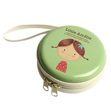 Cartoon Mini Zipper Bag Earphone Headphone Box SD Card Box Bag Carrying Pouch Storage green original kz earphone case fiber zipper headphones hard case storage carrying pouch bag sd card box portable earphone bag