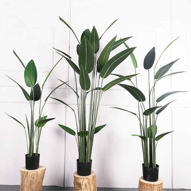 Large Artificial Plant Green Palm Tree Leaves Plastic Leaves Fake Banana Tree Wedding Family Garden Room Decoration