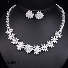 Sweet Princess Dubai Wedding Bridal Jewelry Sets Girls' Party Prom Floral Crystal Necklace Drop Earrings Jewelry Accessories high grade bridal wedding flowers dream korean drop necklace earrings hollow butterfly jewelry sets married bride jewelry