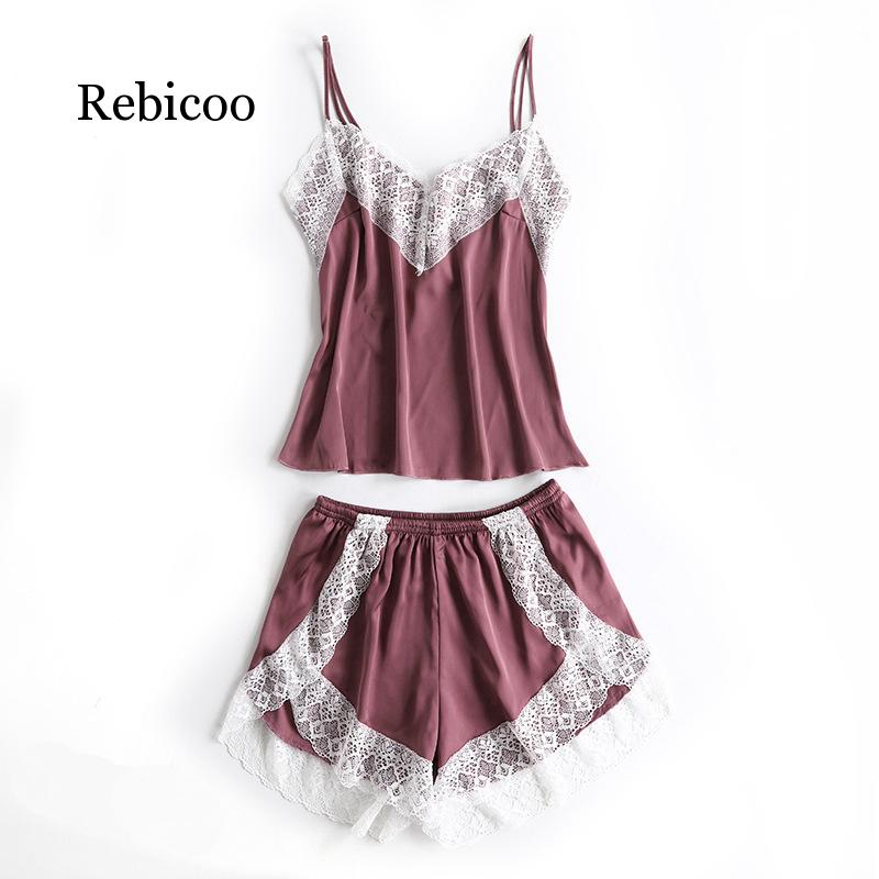 Women's Sleepwear Sexy Satin Pajama Set  Spring Summer Pajama Women Lace Sleeveless Sling and Shorts
