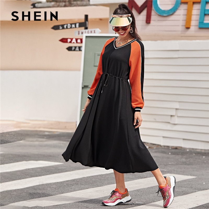 SHEIN Striped Neck Colorblock Drawstring Waist Textured Knit Dress Women Spring Long Sleeve Sporting Casual Long Dresses 1