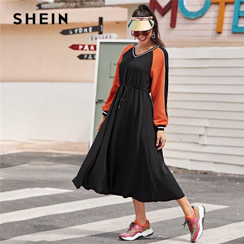 SHEIN Striped Neck Colorblock Drawstring Waist Textured Knit Dress Women Spring Long Sleeve Sporting Casual Long Dresses