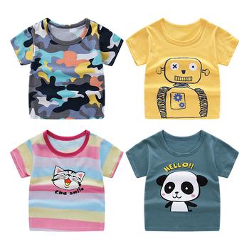 HIPAC dziecięcy T-shirt z krótkim rękawem bawełniane koszulki chłopiec dzieciak chłopcy i dziewczęta topy koszule dziecięcy Tshirt tanie i dobre opinie COTTON CN (pochodzenie) Na co dzień Cartoon REGULAR O-neck Tees Pasuje prawda na wymiar weź swój normalny rozmiar Unisex