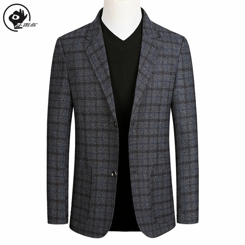 Little Raindrop Short Blazer Mens Brand  Korean Men Blazer Fashion Slim Suit Jacket Business Plaid Blazer Mens Walking Suits